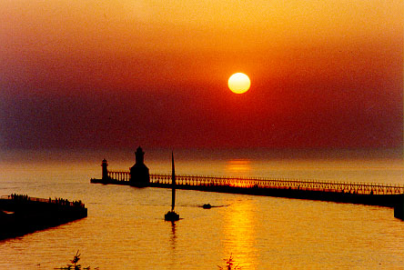 Sunset over the North Pier in St. Josehp Michigan