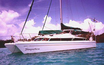 my parents' sailboat ,Simpatica,  a 37 ft Elite Snowgoose  Catamaran that my parents obtained in 1994. Queen Size Bed Forward, 2 aft double cabins. 40 HP VOLVO MD2040 Diesel Engine with SONIC Silletto Steerable Drive Leg. 820 AH of Gel Cells with Separate Starting Battery, Solar Panels & Wind Generator. Glacier Bay 4 cu ft Refrigerator/4.5 cu ft Freezer System. 35 Imp Gal Primary Fuel, 90 Imp Gal Water, PUR Power Survivor - 35 Watermaker. Autohelm ST50 System with ST7000 Autopilot. 5200DX GPS Coupled to Autohelm and SI-TEX T150 Radar.